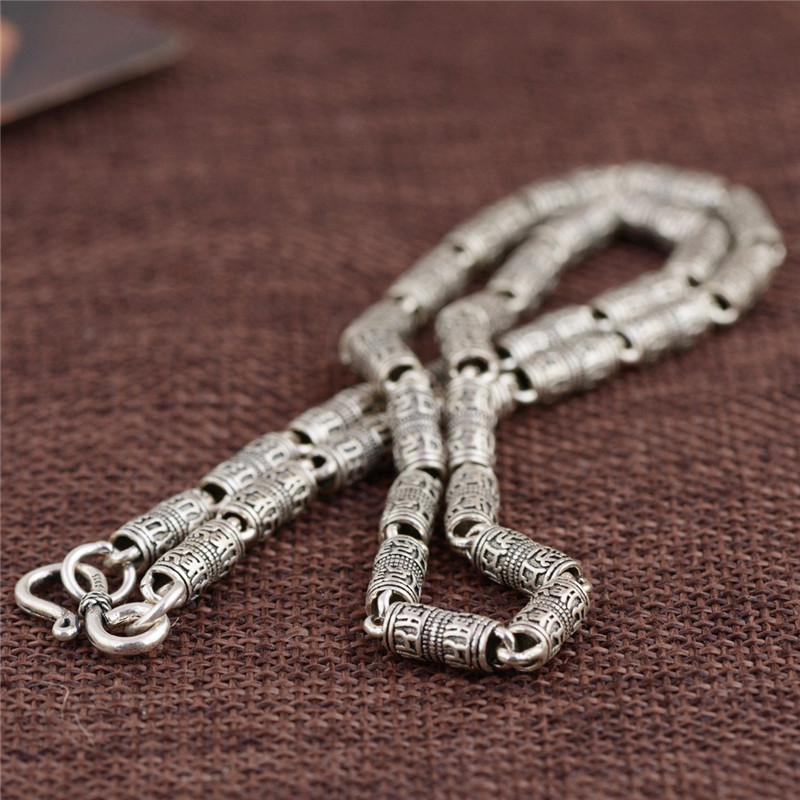 Takı ve Aksesuarları'ten Zincir Kolyeler'de V. YA 100% Gerçek Saf 925 Ayar Gümüş Kolye Erkekler için güvenli zincir Mantra retro Tay Gümüş Zincir Kolye Ücretsiz Kargo HYC01'da  Grup 3