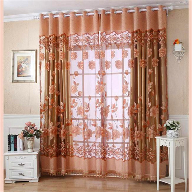 2018 250cmx100cm Embroidered Screens Print Voile Door Curtain Window Roman  Curtains For The Living Room