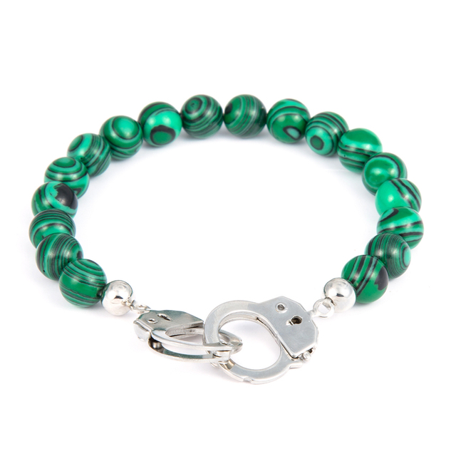 Men Bracelets Bangles Elastic Rope Malachite Bracelet For Women Silver Handcuff Jewelry Pulseras