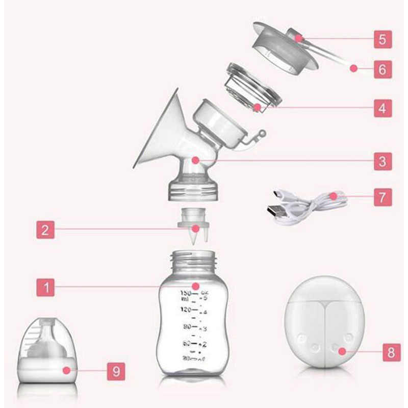 Zimeitu Double Listrik Payudara Pompa Kuat Hisap Puting USB Listrik Payudara Pompa dengan Botol Susu Bayi Panas Dingin Pad Nippl