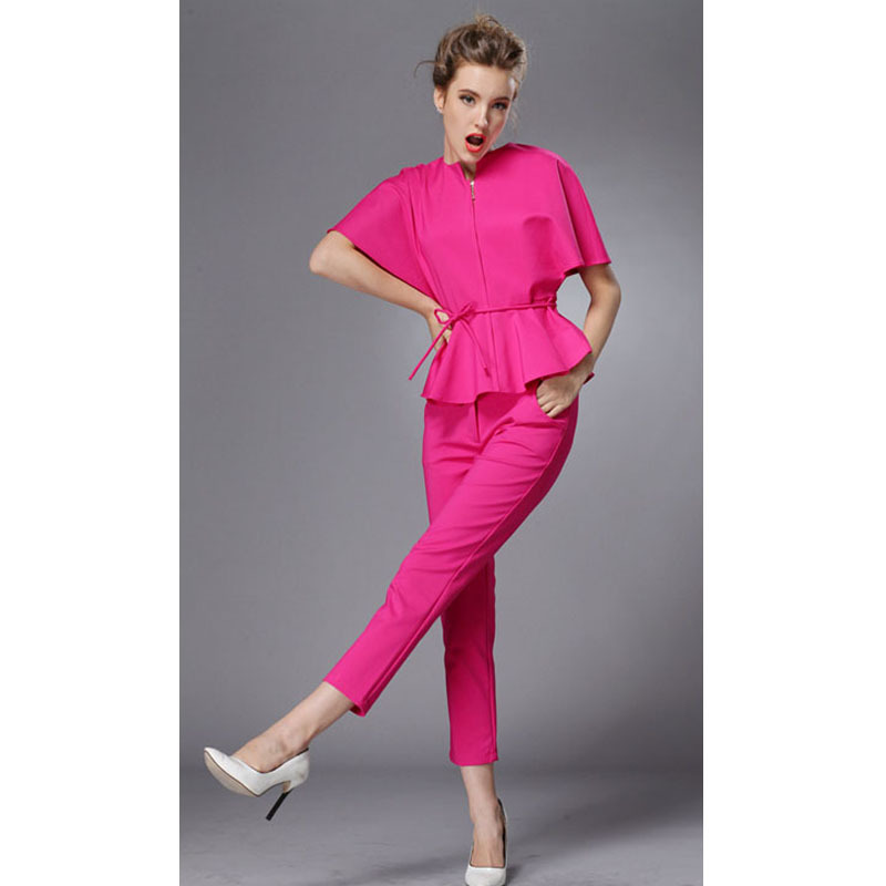 Red Pants Suits for Women New 2017 Fashion Summer Batwing Sleeve