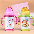 High Quality Children Feeding Cup With Handle Stainless Steel Thermos Baby Straw Learn Drinking Bottle
