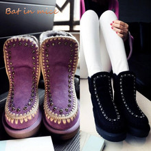 New Winter Women casual flats warm Snow Boots shoes fashion women lady Slip-On Round Toe fur Plush Ankle boots mujer botas W470