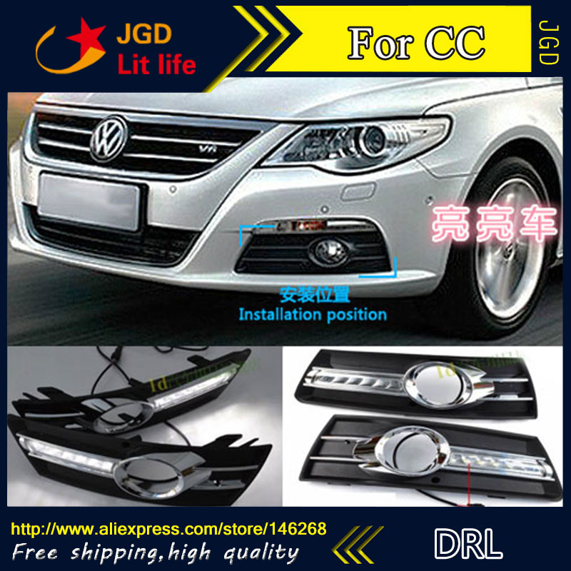 Free shipping ! 12V 6000k LED DRL Daytime running light for VW CC 2009-2012 fog lamp frame Fog light Car styling