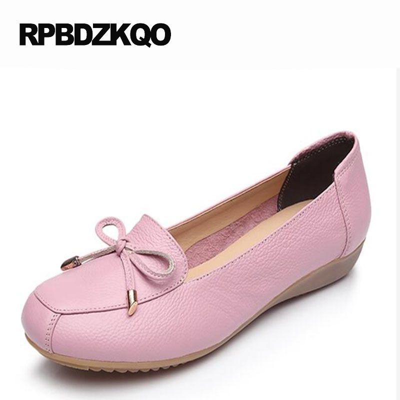 Spring Autumn Women Soft Bow Round Toe Size 9 2017 Pink Flats Ladies Beautiful Shoes Loafers Slip On Knot Drop Shipping Fashion summer slip ons 45 46 9 women shoes for dancing pointed toe flats ballet ladies loafers soft sole low top gold silver black pink