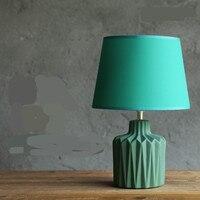 New Modern Nordic Fresh Creative Green Ceramic Fabric Led E27 Table Lamp For Bedroom Coffee Bar
