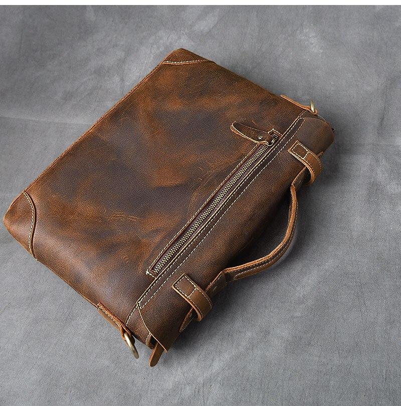 Brown Leather Handbag Vintage back side