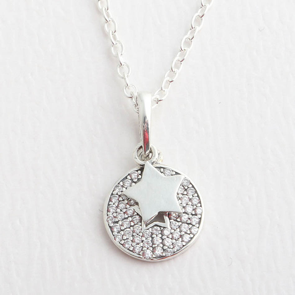 70274bc46e4a0 925 Sterling Silver Pendant Celebration Stars Dangle Fit Pandora Necklaces  & Bracelets Clear CZ Birthday Gift DIY Jewelry-in Beads from Jewelry & ...