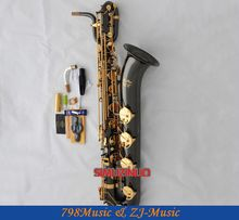 Support Professional Black Nickel Gold Baritone Saxophone Sax High F# W/Leather Case