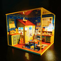 M001 honda DIY dollhouse miniautre handmade wooden doll house Study room with dust cover