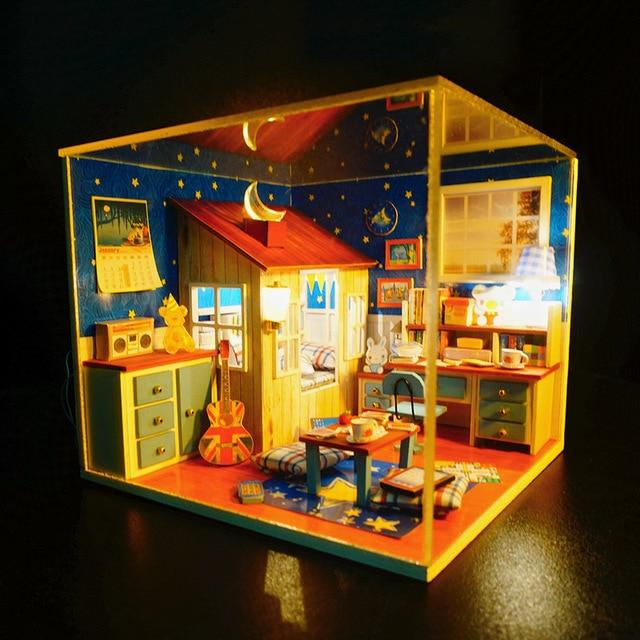 M001 honda DIY dollhouse miniautre handmade wooden doll house Study room with dust cover