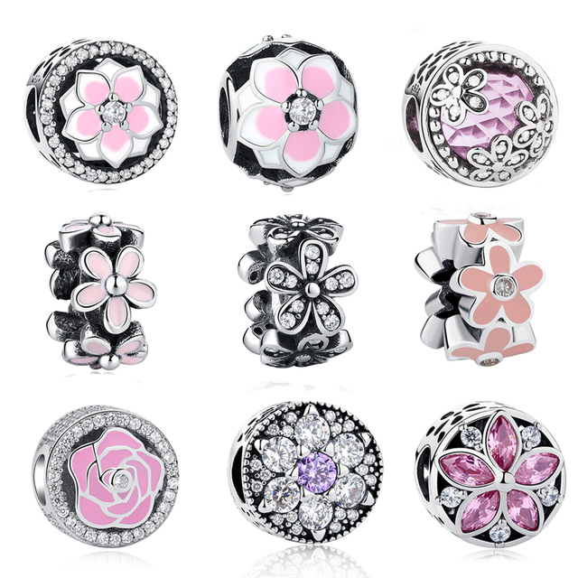 d7beb2a3f 2018 New Spring Flower Collection Charm Beads Fit Original Pandora Charms  Bracelet 925 Sterling Silver Jewelry