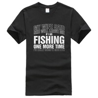 Personalized T Shirts If I Go Fishinger Again Gift For Dad Birthday Fathers Day Crew Neck