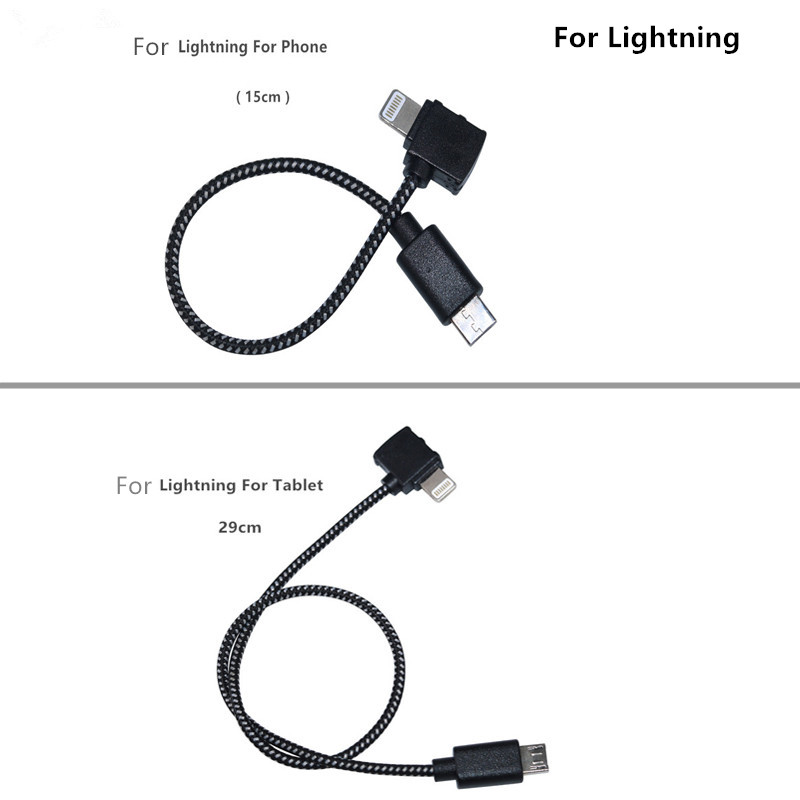 Remote Control Data Cable Type-C  LightningMicro USB port Connecting Phone Tablet Connector Nylon Line For DJI Spark Drone Accessories 1 (3)