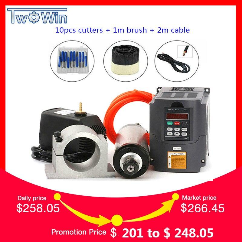 Água de Refrigeração Do Eixo Kit 2.2KW Fresagem CNC Spindle Motor + VFD + 80 2.2KW milímetros braçadeira + bomba de água/ tubo + 13 pcs ER20 para Router CNC