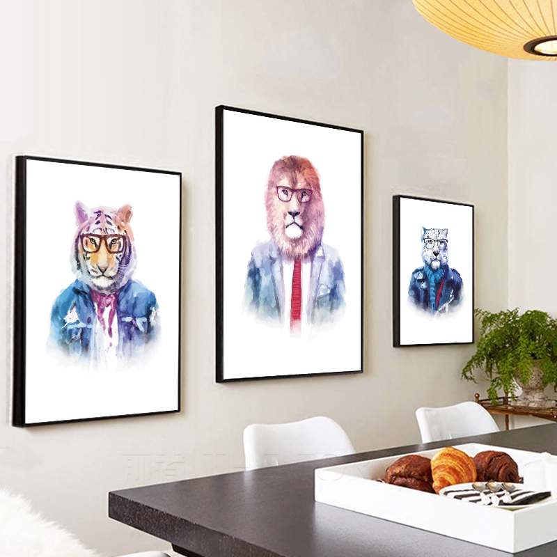 Cartoon, Posters, Animal, Cat, Handsome, Canvas