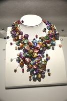 new fashion class mop mix color baroque mother of pearl shell flower statement wrap necklace