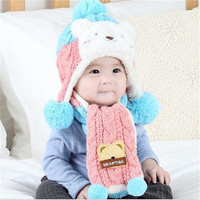 Animal Hat Scarf Set Kids Bear Cap Velvet Bonnet Bomber Hat Cute Winter Hat Knitted Caps