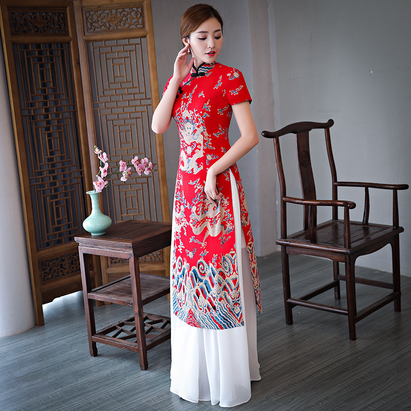 Chinese Red Women Print Dragon Cheongsam Elegant Female Mandarin Collar Long Qipao Vintage Ladies Casual Dresses