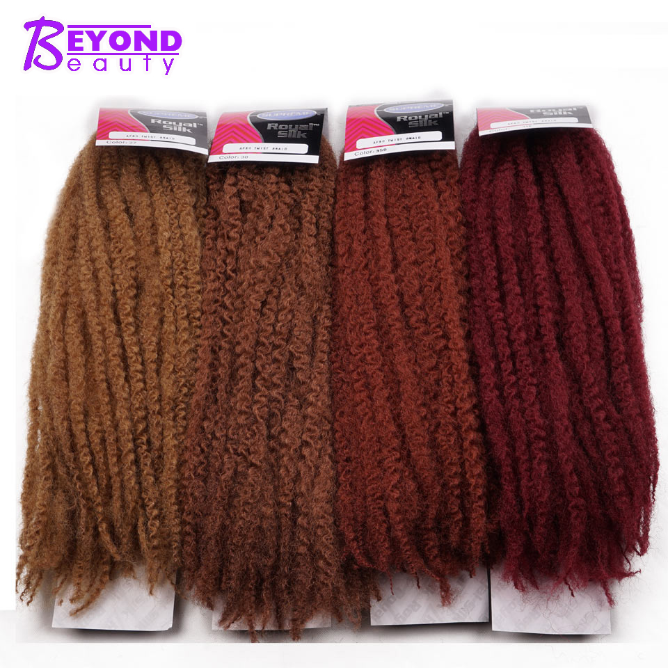Afro Kinky Marley Braids Hair 18inch Soft Jumbo Crochet Braids Hair Extensions Synthetic Red Long Ombre Marley Twist Hair