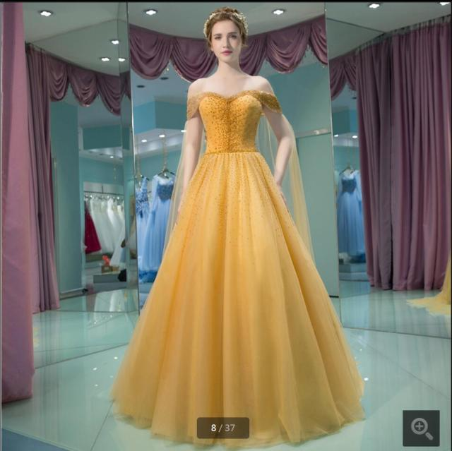 2016 New Arrival Gold A Line Off The Shoulder Prom Dress Beading