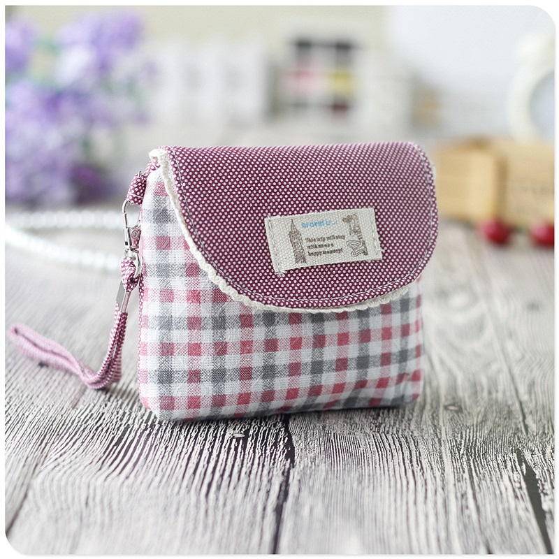 Cotton fabric plaid printing women coin purses ladies change pouch wallet bags carteiras bolsas feminina bolsos mujer for girls