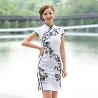 Summer Short Sleeve Cheongsam Dress Party Embroidered Chinese Traditional Qipao