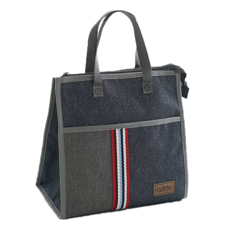 Leisure Denim Zipper Lunch Bags Mummy Insulated Pack Portable Drink Food Thermal Ice Cooler Family Picnic Box Accessories Stuff