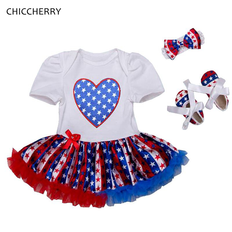 Stars Print Baby Girl Clothes Independence Day Toddler Lace Romper Dress Headband & Shoes Set Vestido De Bebe 4th of July Outfit nasrin zahan reproductive health and women s issues