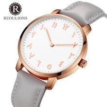 REOULIONS модные простые арабские цифры Для женщин Watch Top Элитный бренд кварцевые наручные часы Женская кожаная обувь Часы Montre Femme