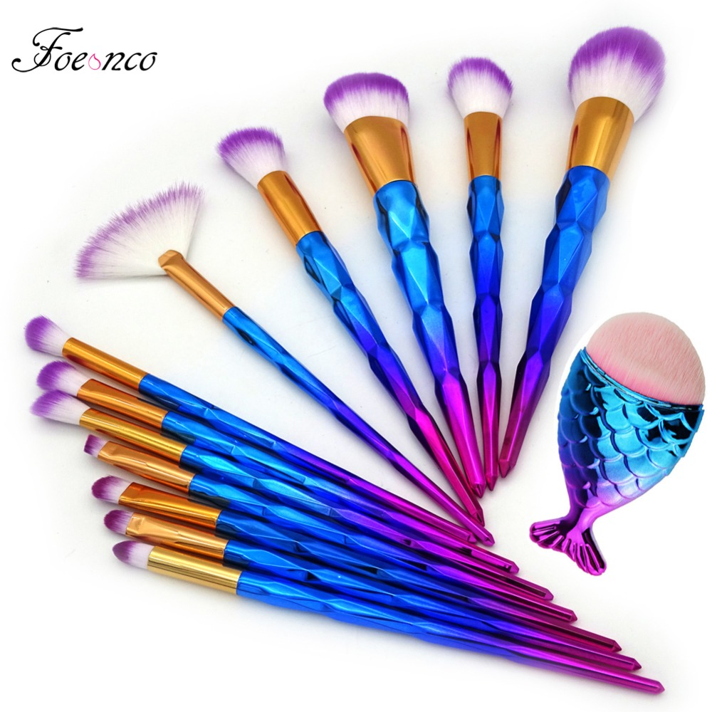 13 stücke Einhorn Diamant Make-Up Pinsel Set Mermaid Foundation Pulver Kosmetik Regenbogen Lidschatten Gesicht Kabuki Make-Up Pinsel Tools Kit