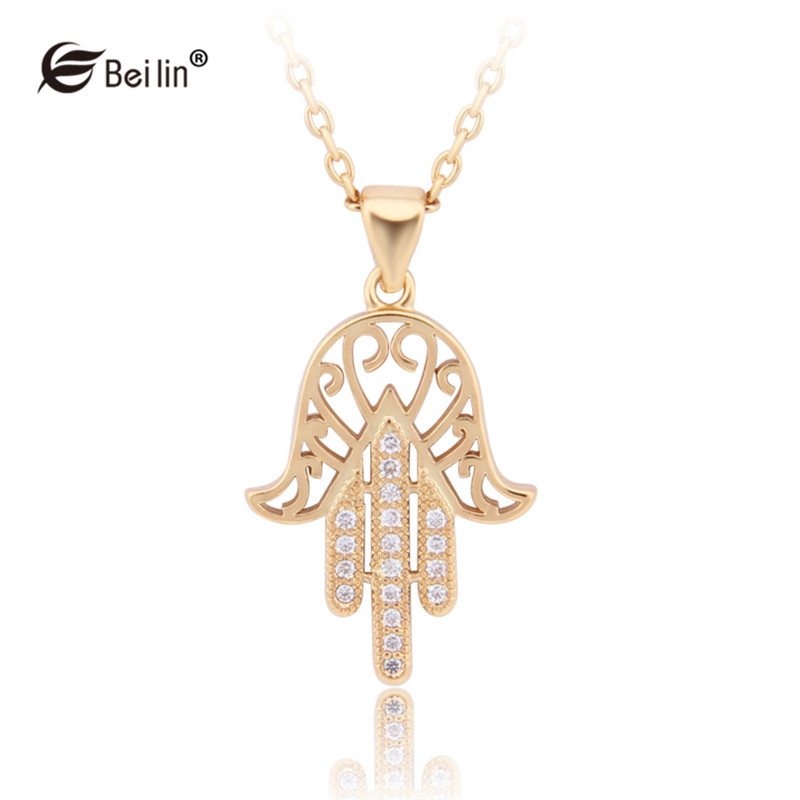 2016 New Design Vintage Fatima Hand Jewelry Cubic Zirconia Hasma Women Pendant Necklace Islamic Jewelry Colar (ALZ1503023)