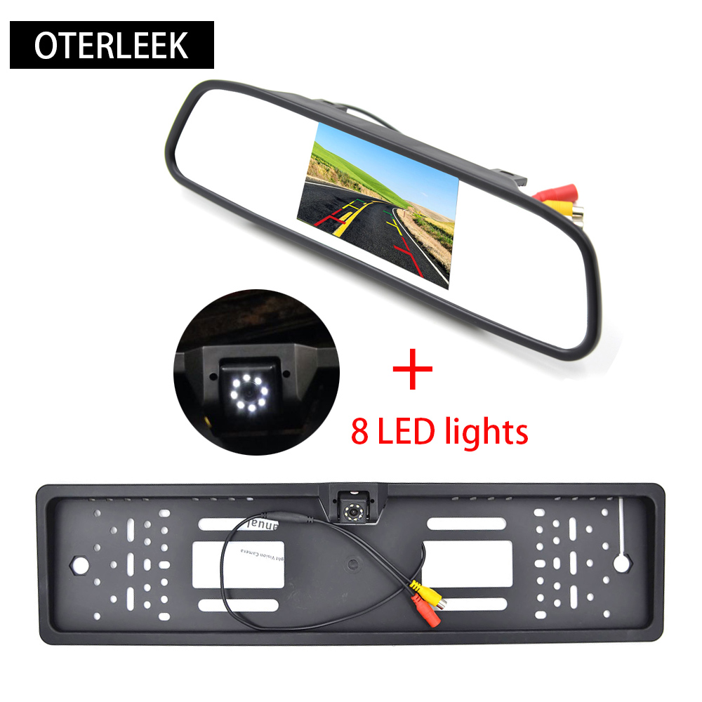 "4,3 ""TFT LCD 2 Video Input Car Bakifrån Spegelmonitorer med 8 ledad EU-licensplattform RearView Backer Backup Camera"