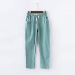 Image 4 - キャンディーの色夏パンツ女性のレースアップパンタロン綿リネンスウェットパンツカジュアルハーレムパンツ女性ズボン C5212