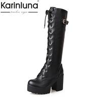 KarinLuna Britsish Sexy Knee High Boots Women Lace Up Buckle Thick Platform Winter Shoes With Fur