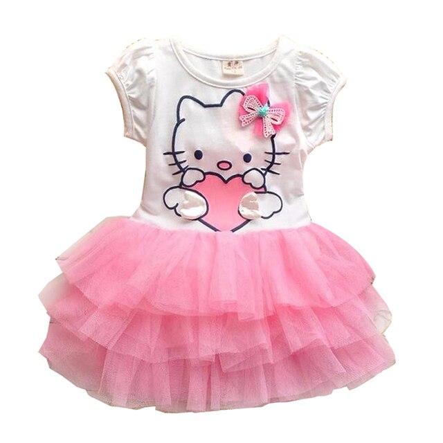 f1c61b381cc7 Baby Girls Cartoon Dress Kids Girl Short Sleeve Gauze Cake Princess ...