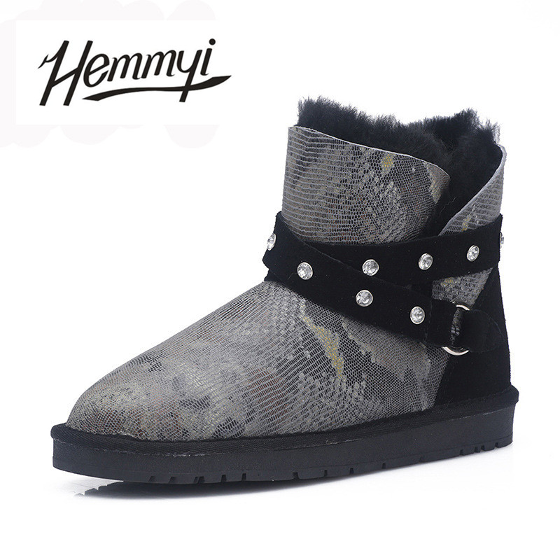 Hemmyi Top quality 100% sheepskin leather winter warm boots women 100% wool snow boots Australian style fashion ankle boots