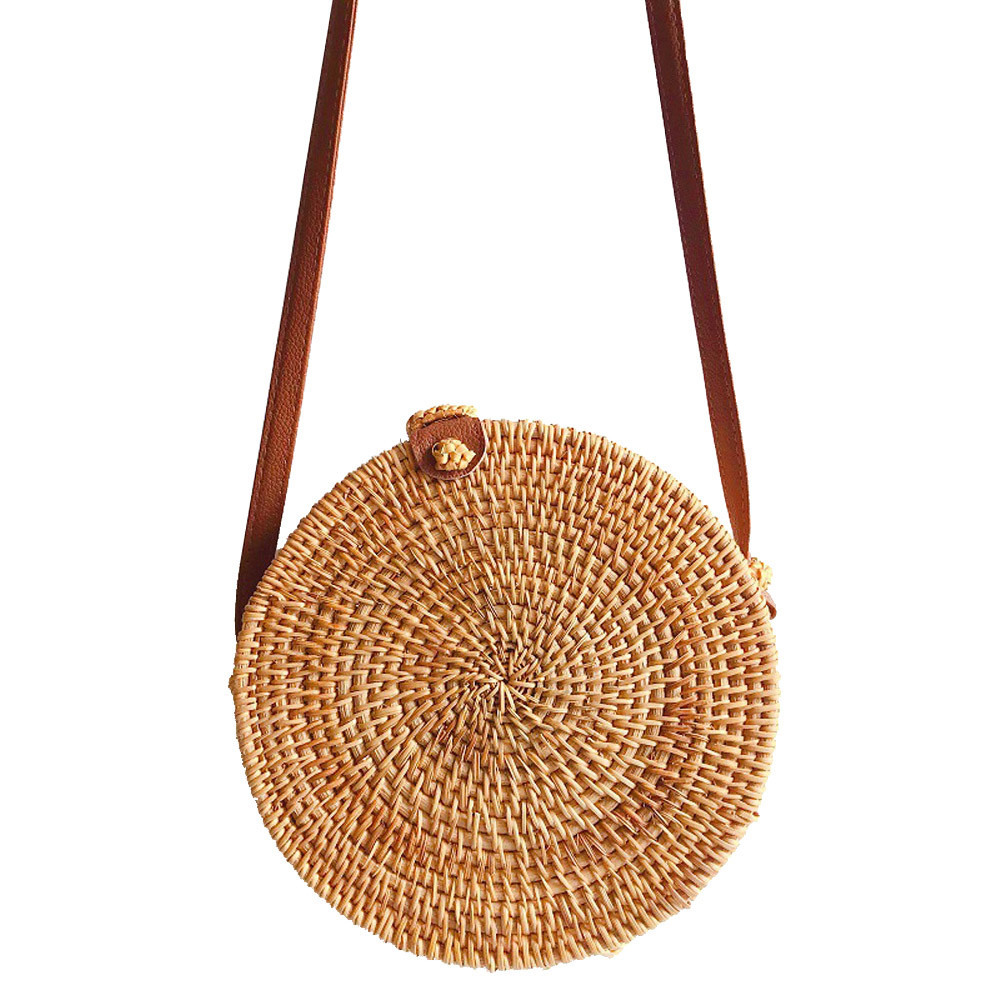 Fashion Women Shoulder Bag Circle Handwoven Bali Round Retro Rattan Straw Beach Bag Crossbody Bolsas Femininas 2019 #G4