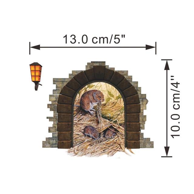 funny mouse hole stickers wall corner decoration zooyoo1453 kids gift diy adesivo de paredes cartoon animals decal mural art 4.0
