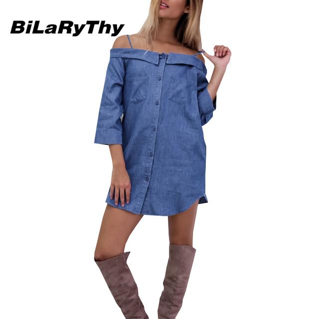 Nova chegada mulheres moda outono sexy spaghetti strap azul denim mini dress barra do pescoço solto vestidos casuais vestidos femininos