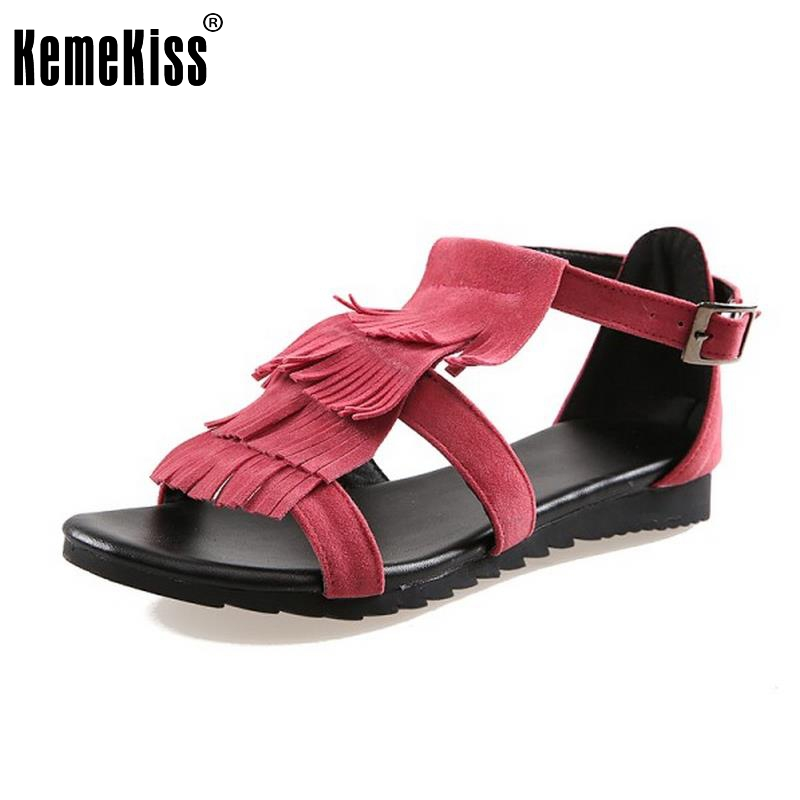 KemeKiss Women Flats Sandals Tassels Open Toe Solid Shoes Women Fashion Silp On Leisure High Quality Flat Footwear Size 33-43 women flat sandals fashion ladies pointed toe flats shoes womens high quality ankle strap shoes leisure shoes size 34 43 pa00290