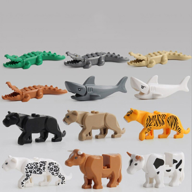 1 Set Kids Animal Building Block Toys Crocodile Tiger Cow Animal Buildable Model
