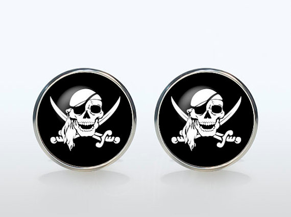 Cool Pirate Sign Vintage Sleeve Button French Shirt Cufflinks Brand Silver Plated Skull Glass Cuff Man Woman Accessories
