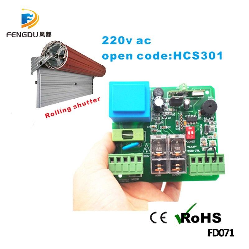 220 V panneau récepteur de moteur de volet roulant 433 mhz code ouvert pour NICE/FAAC/DITEC/V2