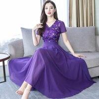 3XL Chiffon Dress Women Elegant Vestidos Casual Embroidered Long Sleeve Dress Female Plus Size Maxi Party Dress Robe Femme Q1744