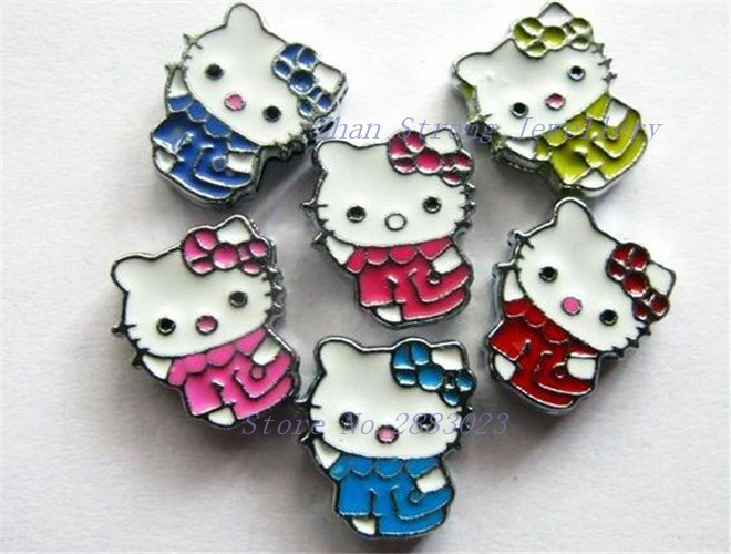 10pcs-50pcs-100pcs 8mm Mixed Color Cat With Bow Slide Charms Fit 8mm Bracelet & Wristband Pet Collar Charms Jewelry