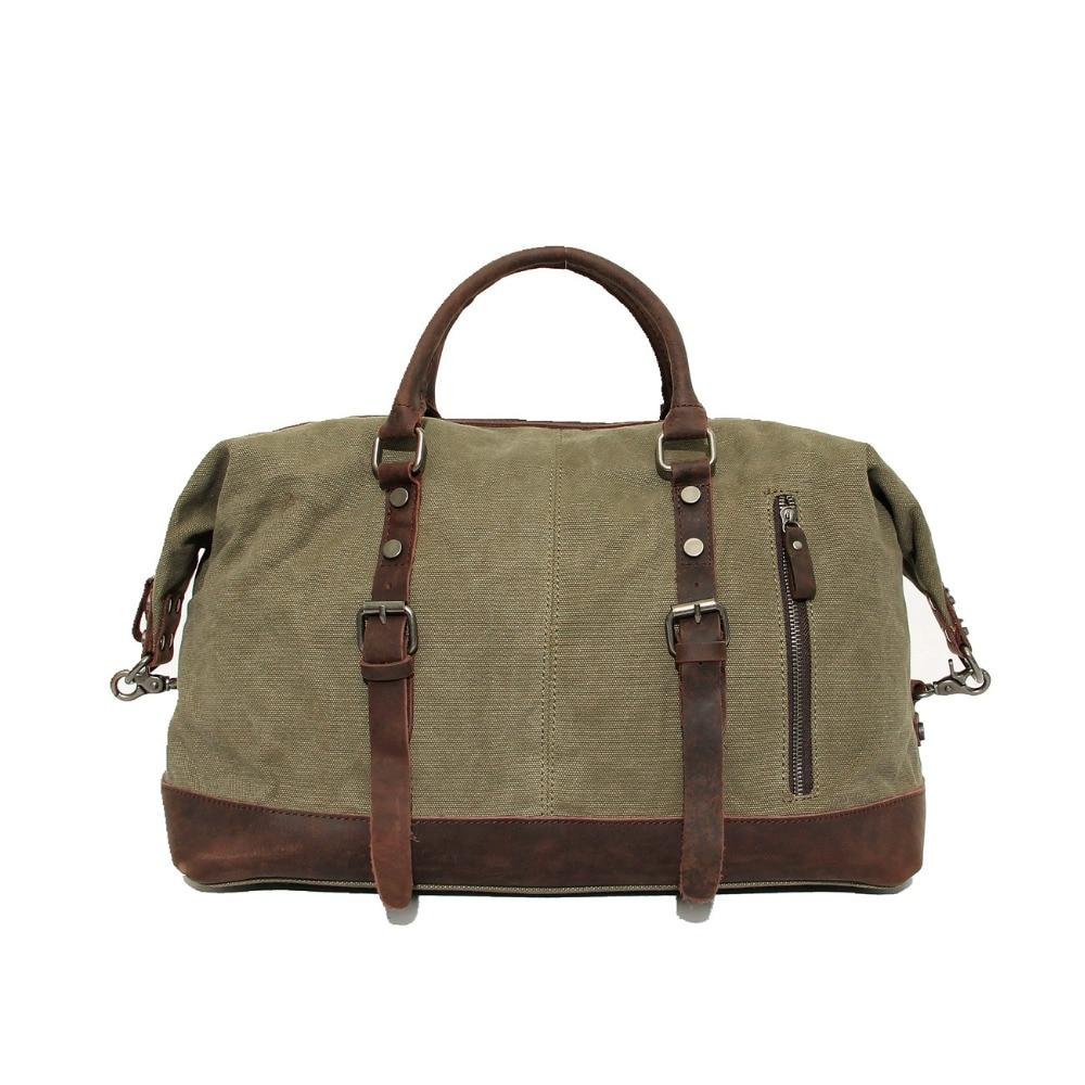 ФОТО New Mens Canvas Travel Bag Large Duffel Bag Army Green Travel Handbags Good Quality Bags Women Male Luggage Bag