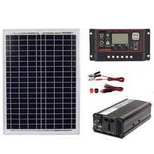 18V20W Solar Panel +12V / 24V Controller + 1500W Inverter Ac220V Kit, Suitable For Outdoor And -Home Energy-Savin