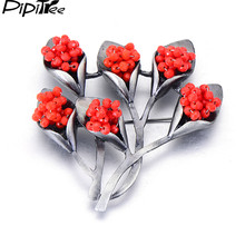 Pipitree Luxury Red Kristal Bunga Perhiasan Antik Logam Besar Vintage Bros Wanita Pin Bros Bouquet Pernikahan Aksesoris(China)