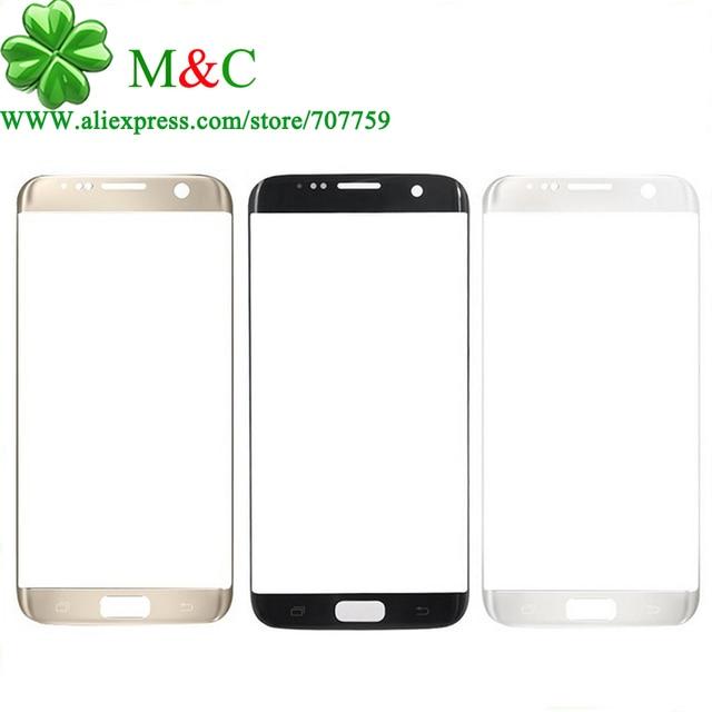 100% Оригинальный S7 Края Стеклянный Объектив для Samsung Galaxy S7 G930 S7 Край G935F G9350 Передняя Сенсорный Экран Стекла Внешний Объектив Панели